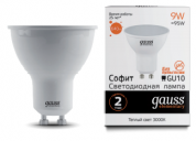 ЛАМПА GAUSS LED ELEMENTARY MR16 GU10 9W 3000К
